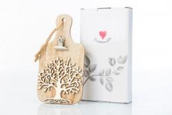 Tagliere decorativo con pinza portamemo in legno con albero della vita, linea Cuore Gaio