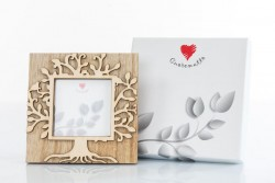 Portafoto in legno 13 x 13 con decoro albero della vita, linea Cuore Gaio