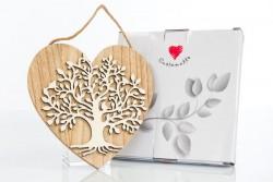 Cuore appendibile in legno con albero della vita, linea Cuore Gaio