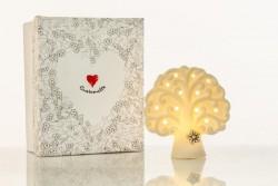 Lampada piccola led in ceramica albero vita linea Simply White