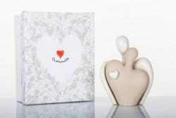 Coppia innamorati in ceramica bisquit e lucida linea Simply White