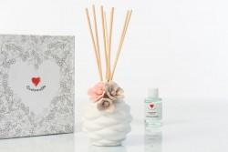Profumatore piccolo sablè con fiore rosa, simply white